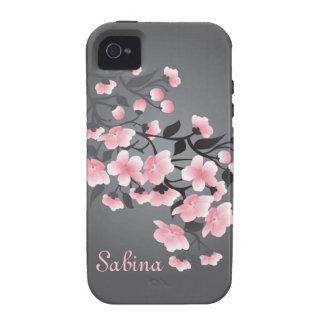 Fleurs de cerisier Sakura sur le gris Coques Vibe iPhone 4