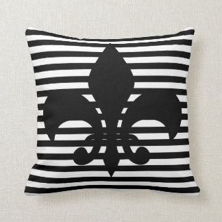 Fleurs-de-lis Black and White Striped Background Throw Pillow