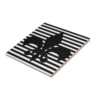 Fleurs-de-lis Black and White Striped Background Tile