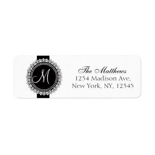 Fleurs de Lis Monogram marque le blanc noir Étiquette D'adresse Retour