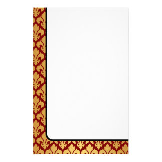 Fleurs-de-lys Gold and Red Customized Stationery