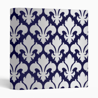 Fleurs-de-lys Silver and Blue 3 Ring Binder