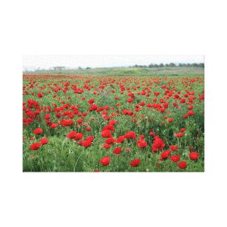 Fleurs de rouge de paysage de nature de champ de toile tendue sur châssis