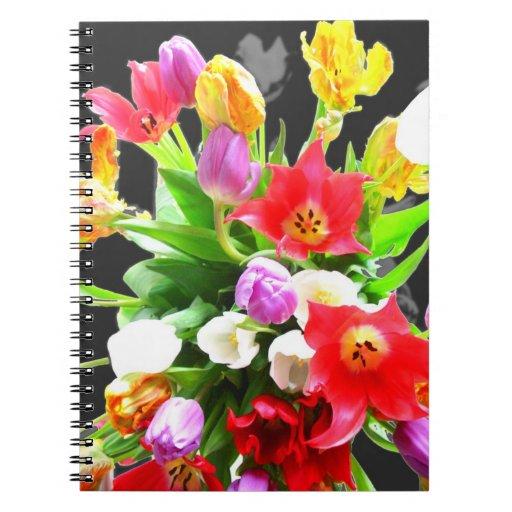 Fleurs de tulipe de ressort carnet