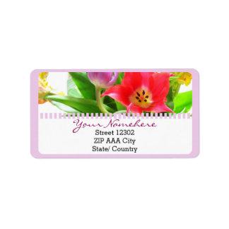 Fleurs de tulipes de ressort florales étiquettes d'adresse