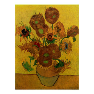 Fleurs de Van Gogh, vase avec 15 tournesols Posters