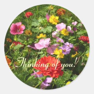 Fleurs des champs classic round sticker