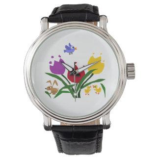 Fleurs et canards de tulipe, lapin, et oiseau bleu montres bracelet