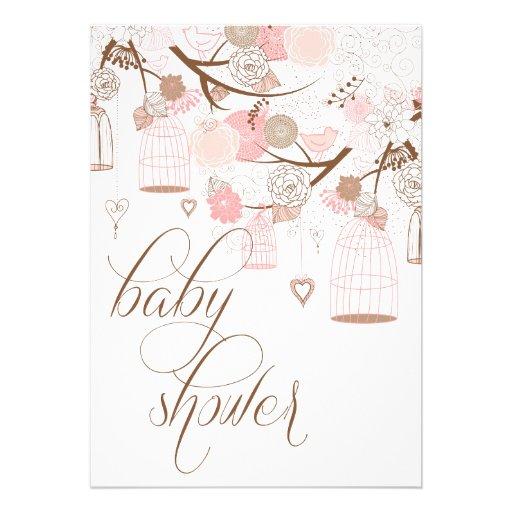 Fleurs et invitations roses de baby shower de cage