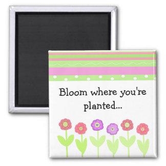 Fleurs et rayures avec dire magnets pour réfrigérateur