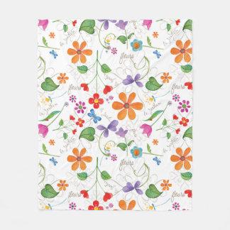 Fleurs floral print fleece blanket