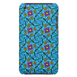 Fleurs gaies sur le bleu coque iPod touch Case-Mate