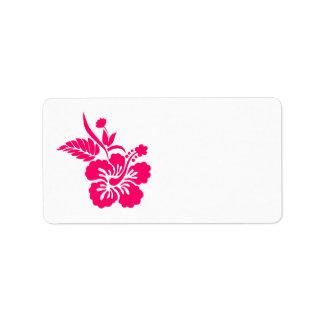 Fleurs hawaïennes roses lumineuses étiquette d'adresse