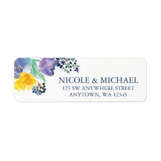 Fleurs jaunes bleues d'aquarelle de ressort étiquette d'adresse retour