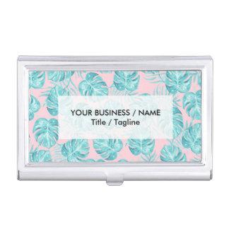 Fleurs mignonnes tropicales roses turquoises porte-cartes de visite