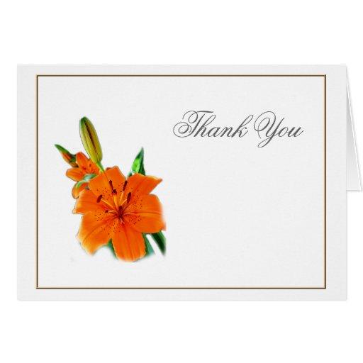 fleurs oranges de lis de couleur, merci carte de