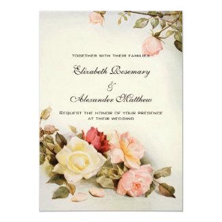 Fleurs roses de mariage de jardin vintage carton d'invitation  12,7 cm x 17,78 cm