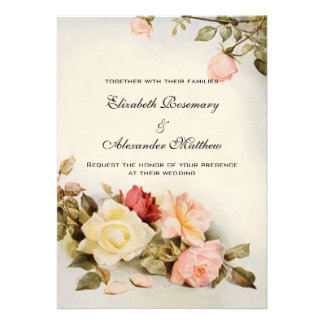 Fleurs roses de mariage de jardin vintage d'antiqu invitation personnalisable