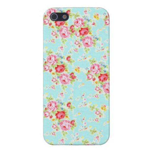 Fleurs roses minables bleues de roses floraux chic coques iPhone 5