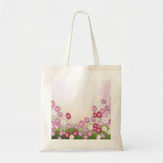 Fleurs roses, pourpres et blanches sac en toile budget