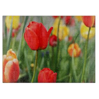 Fleurs rouges et jaunes de tulipe planches à trancher