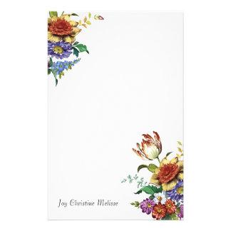 Fleurs sauvages de floral chic vintage de ressort papier à lettre customisable