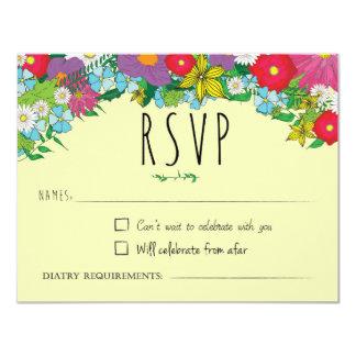 Fleurs sauvages - été - mariage - RSVP Carton D'invitation 10,79 Cm X 13,97 Cm