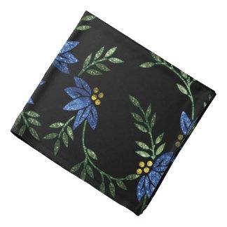 Fleurs scintillantes bleues sur l'arrière - plan bandanas