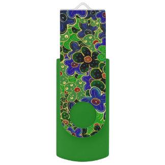fleurs vertes et bleues avec l'équilibre d'or clé USB 2.0 swivel