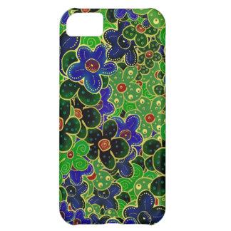 fleurs vertes et bleues avec l'équilibre d'or coque iPhone 5C
