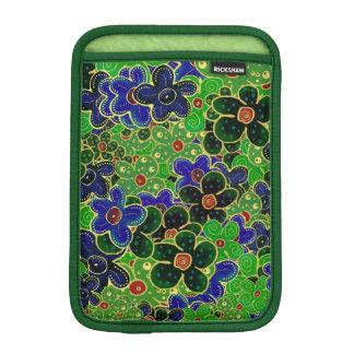 fleurs vertes et bleues avec l'équilibre d'or housses pour iPad mini