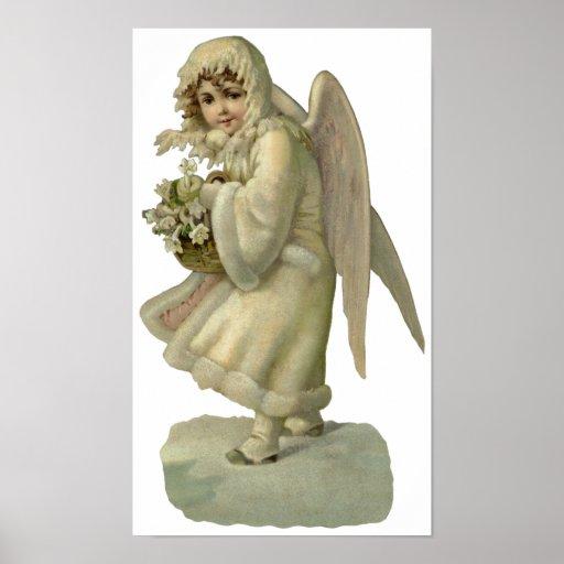 Fleurs vintages d'ange de Noël, victorien découpée Posters