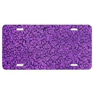 Fleurs violettes florales vintages de pourpre plaque d'immatriculation
