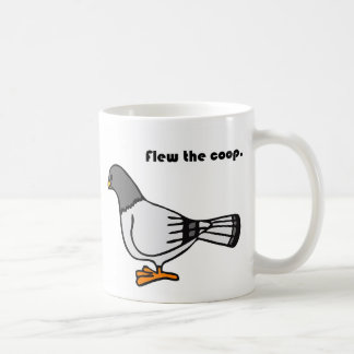 Flew the Coop Gray Pigeon Cartoon Coffee Mug