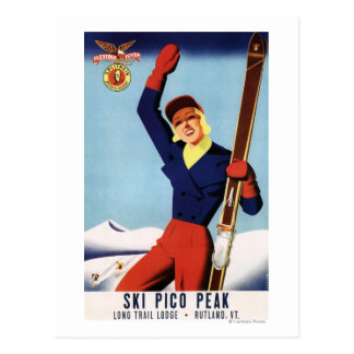 Flexible Flyer Pin-Up Skiing Girl Postcard