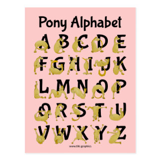 Flexible Pony | Alphabet Chart Postcard