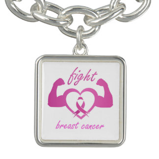 Flexing arms to fight breast cancer charm bracelets