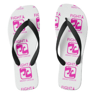 Flexing arms to fight breast cancer flip flops