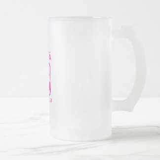 Flexing arms to fight breast cancer frosted glass beer mug