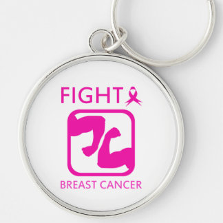 Flexing arms to fight breast cancer keychain