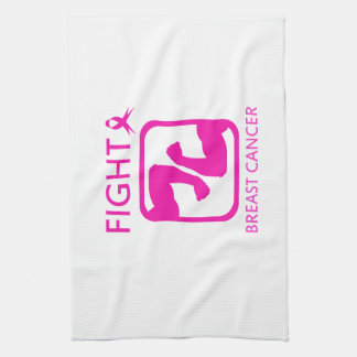 Flexing arms to fight breast cancer kitchen towel
