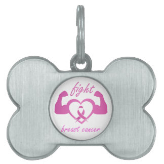 Flexing arms to fight breast cancer pet name tag