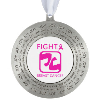 Flexing arms to fight breast cancer pewter ornament