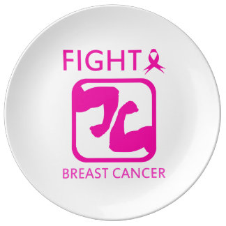 Flexing arms to fight breast cancer plate
