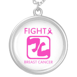 Flexing arms to fight breast cancer silver plated necklace