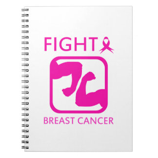 Flexing arms to fight breast cancer spiral notebook