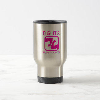 Flexing arms to fight breast cancer travel mug