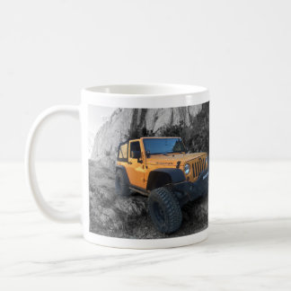 Flexing Jeep B/W background Coffee Mug