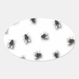 Flies Oval Sticker