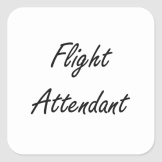Flight Attendant Artistic Job Design Square Sticker